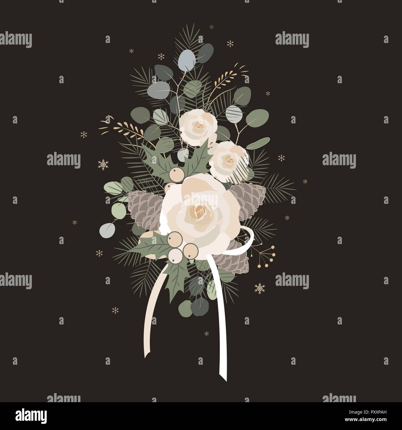 Christmas bouquet arranged with eucalyptus, roses, pine cones, mix of plants and berries. Christmas design - Stock Vector