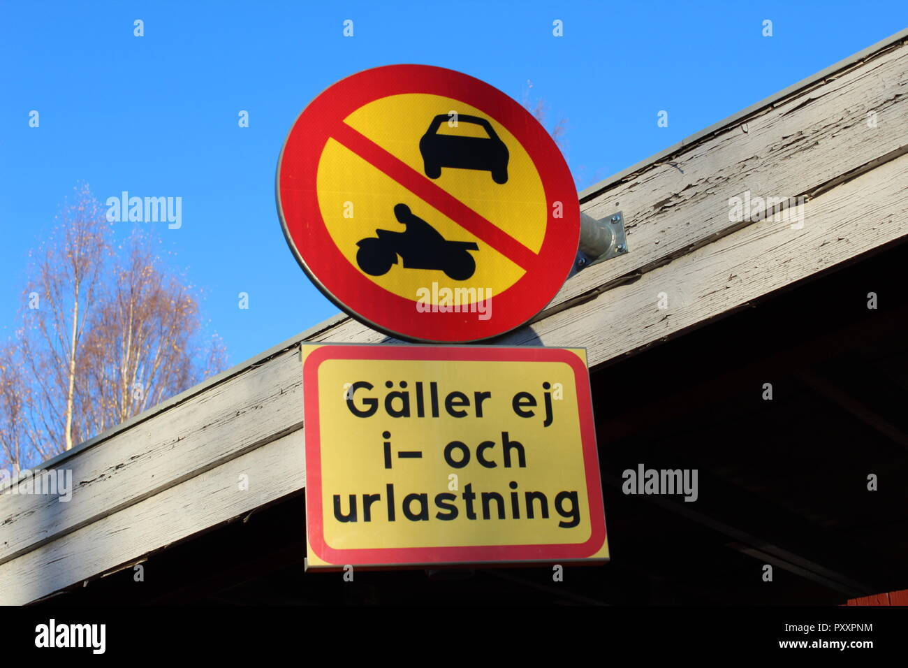TRAFFIC SIGN IN SWEDEN. - Stock Image