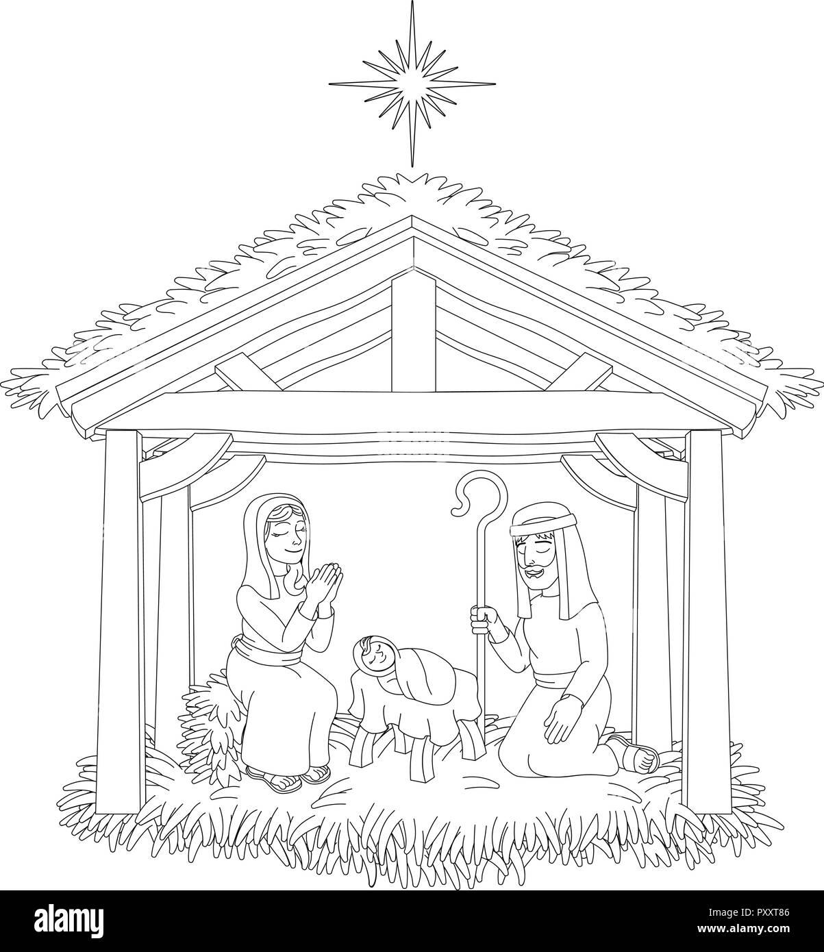 Christmas Nativity Scene Cartoon Coloring Stock Vector Art
