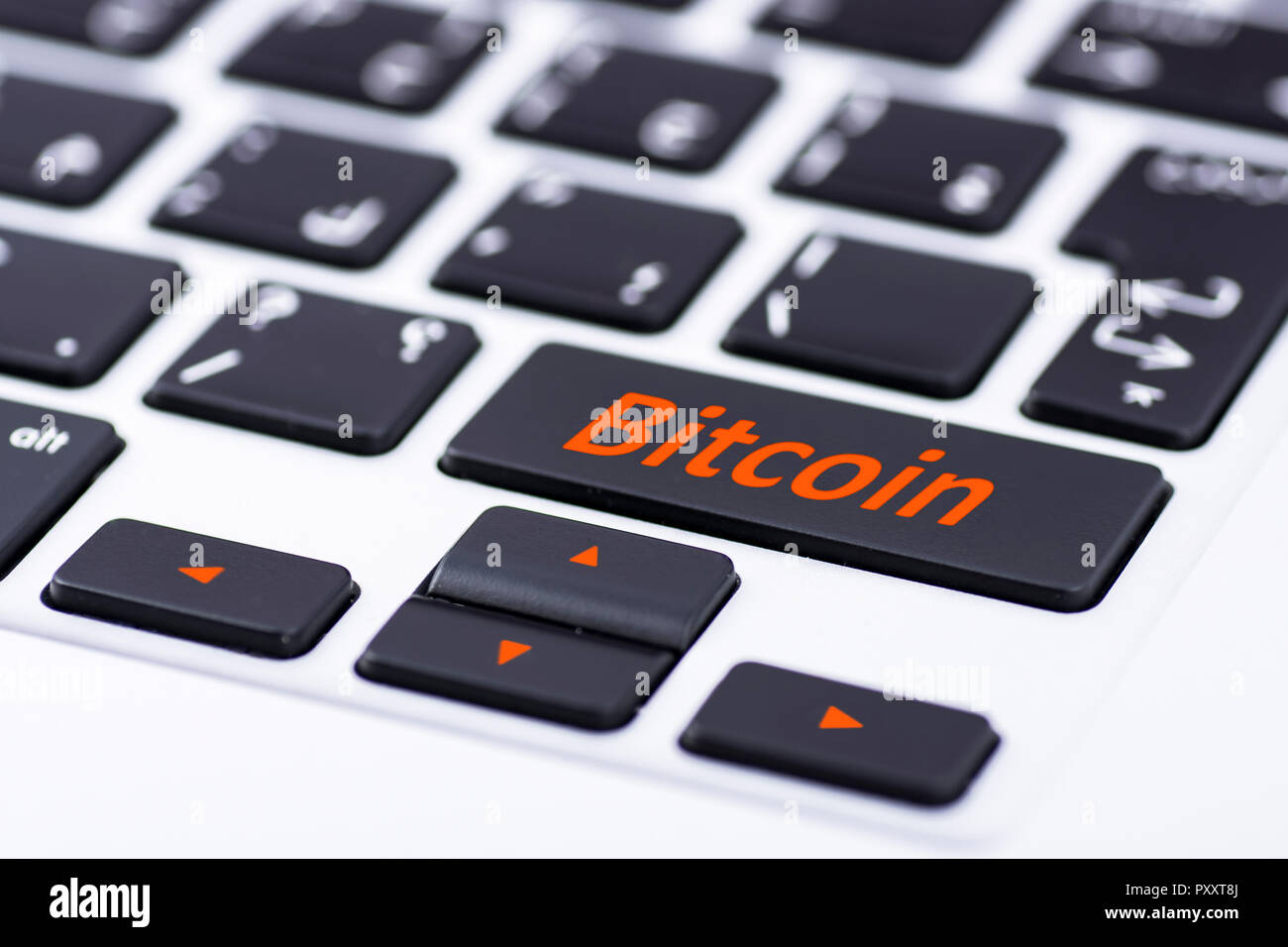 Bitcoin on keyboard button Stock Photo