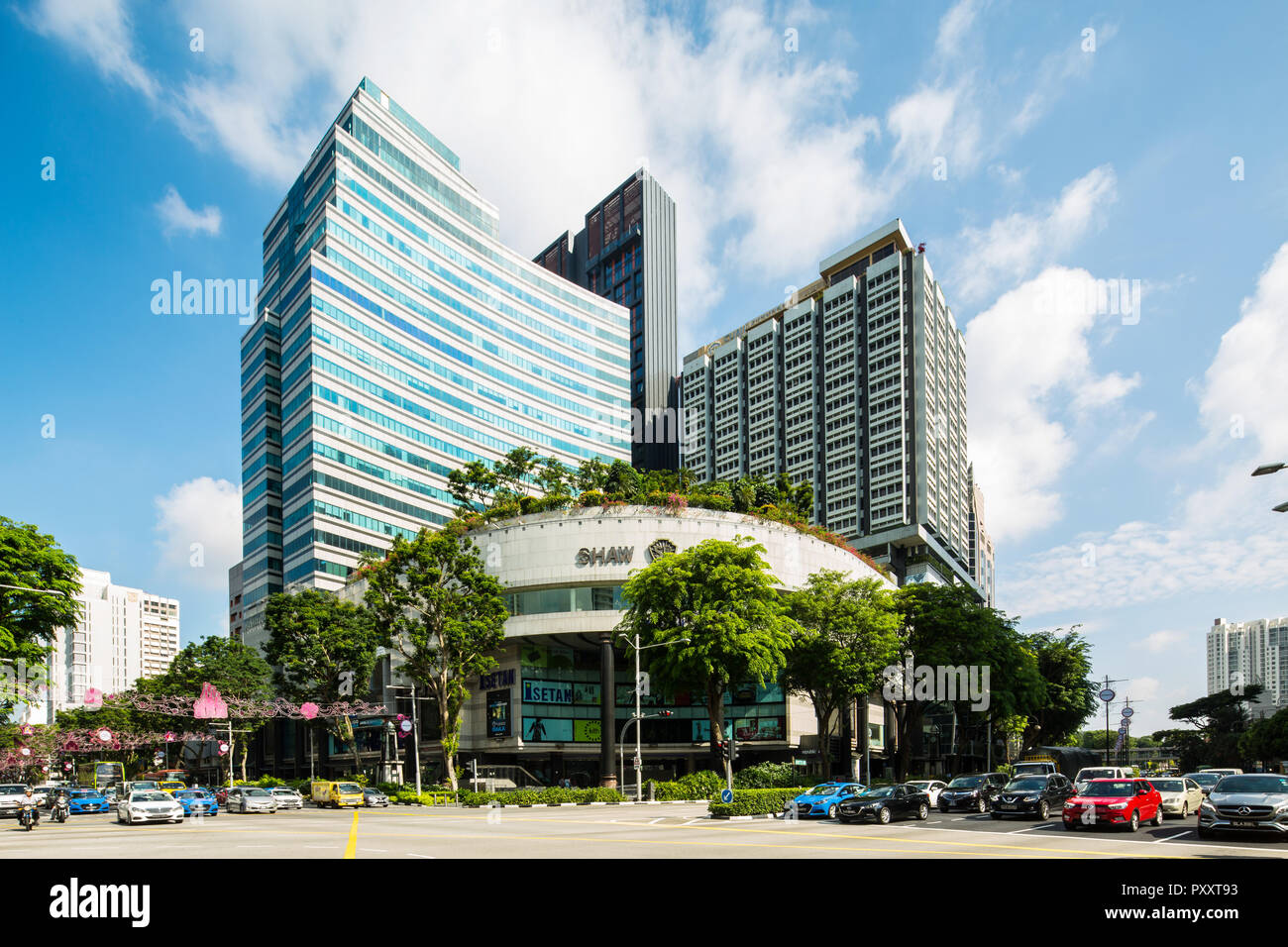 View of shopping malls and office buildings located at Orchard Road, Singapore. - Stock Image