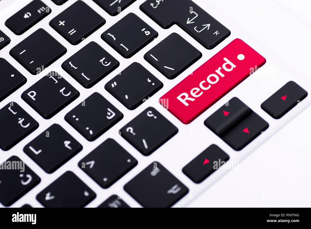 Record on keyboard button Stock Photo