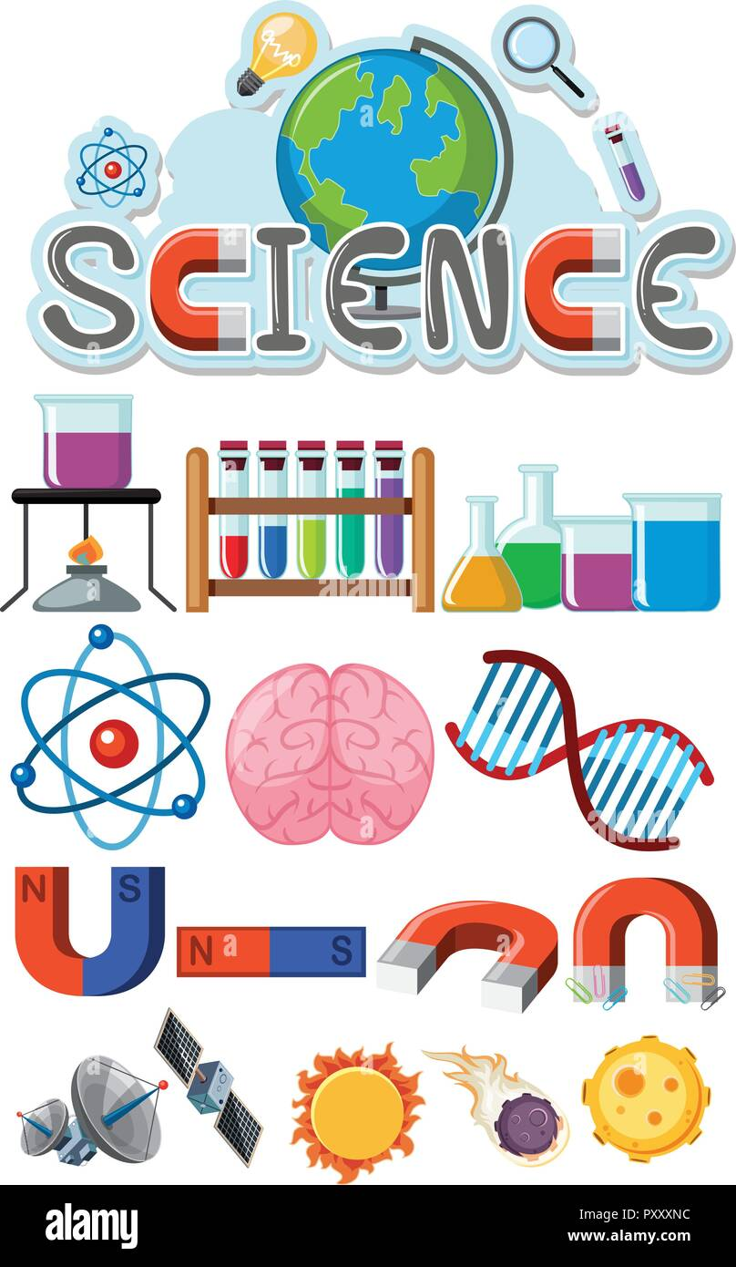 Science icons on white background illustration - Stock Image