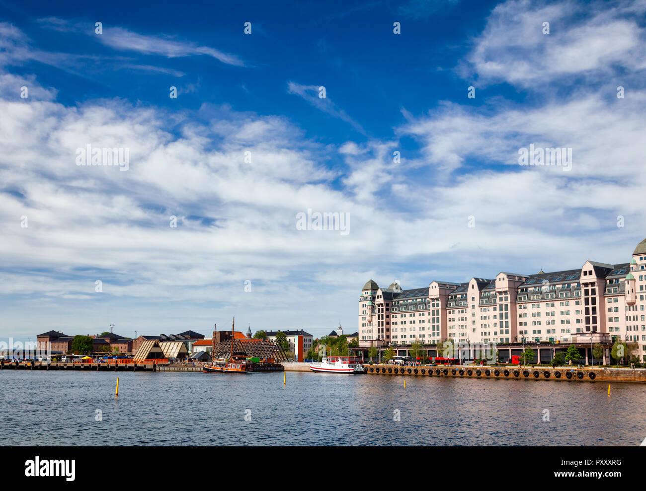 Bjorvika embankment  with Havnelageret building in Central Oslo Norway, Scandinavia - Stock Image