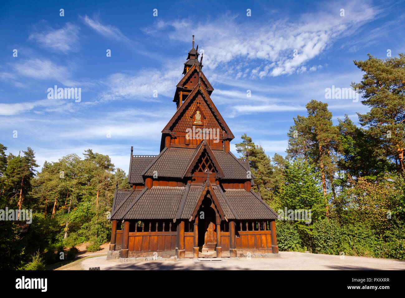 Reconstructed wooden Gol Stave Church (Gol Stavkyrkje) in Norwegian Museum of Cultural History at Bygdoy peninsula in Oslo, Norway, ScandInavia - Stock Image