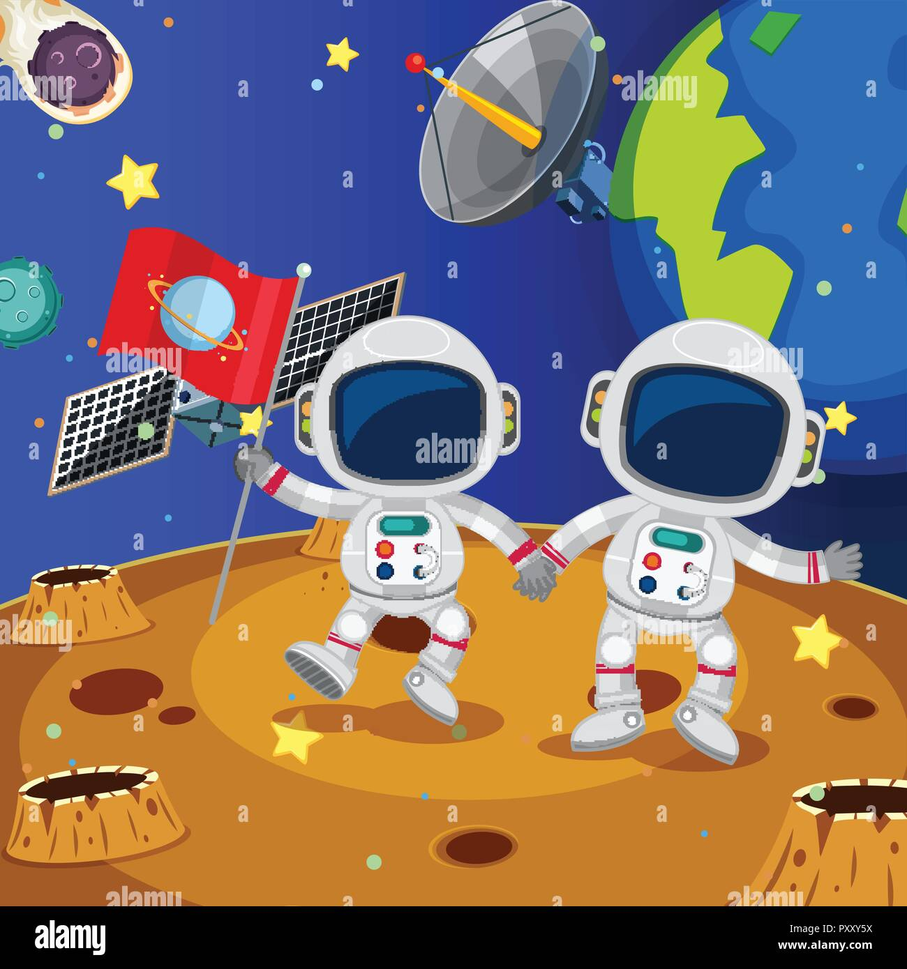 Two astronauts exploring the planet illustration - Stock Vector