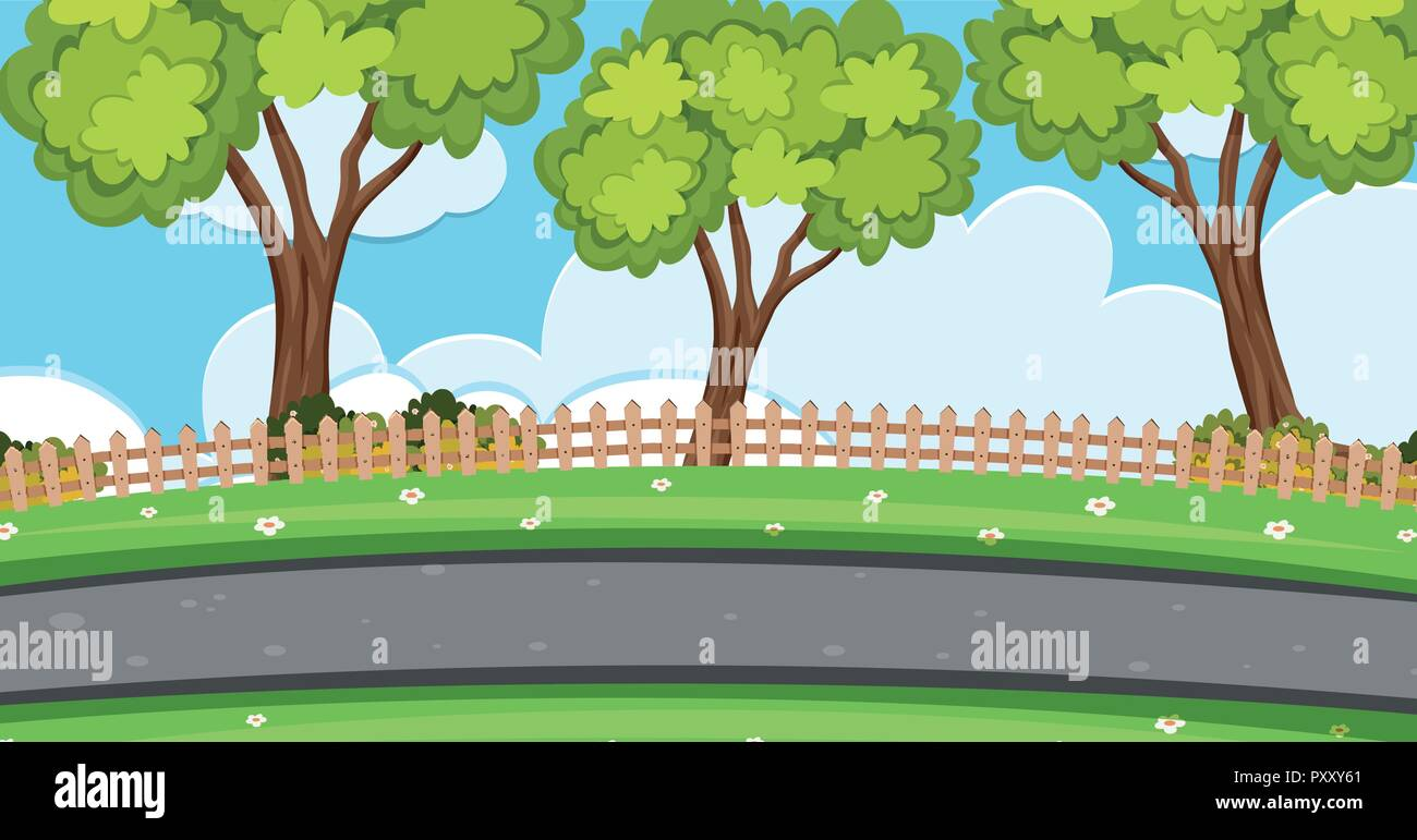 Background Scene With Trees Along The Road Illustration Stock Vector Image Art Alamy