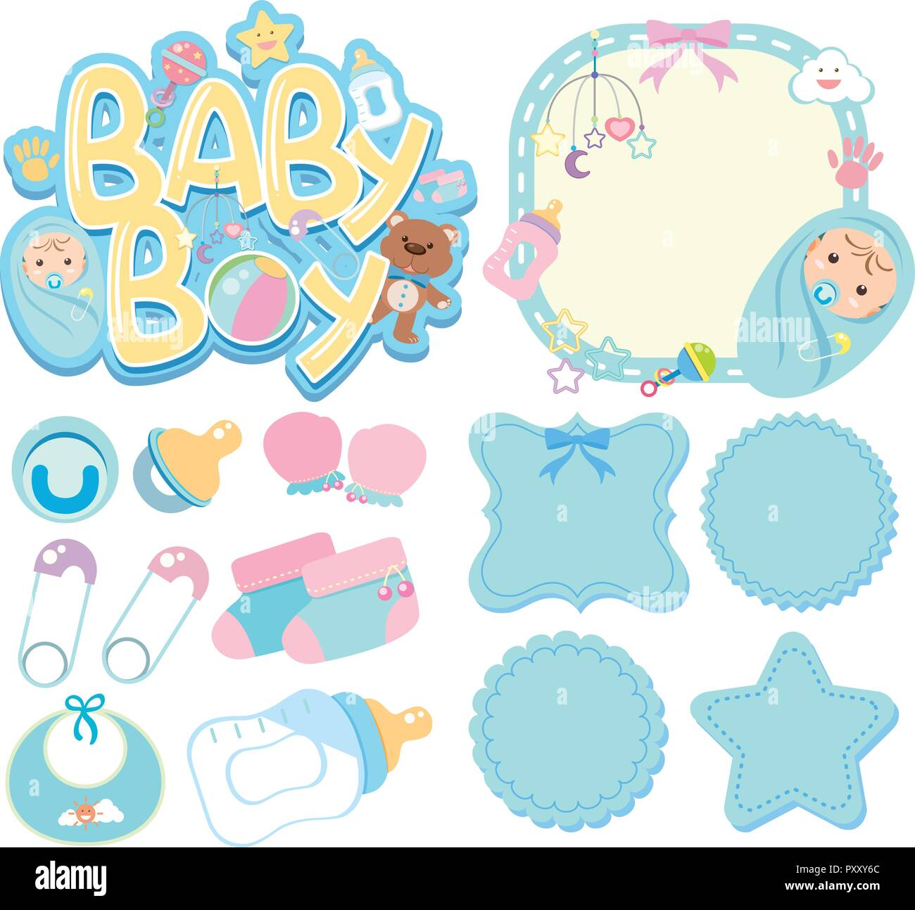 banner templates for baby boy illustration stock vector art