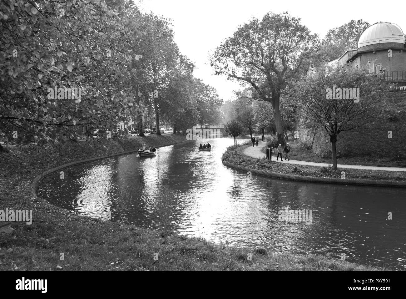 River in the city of utrecht in black and white
