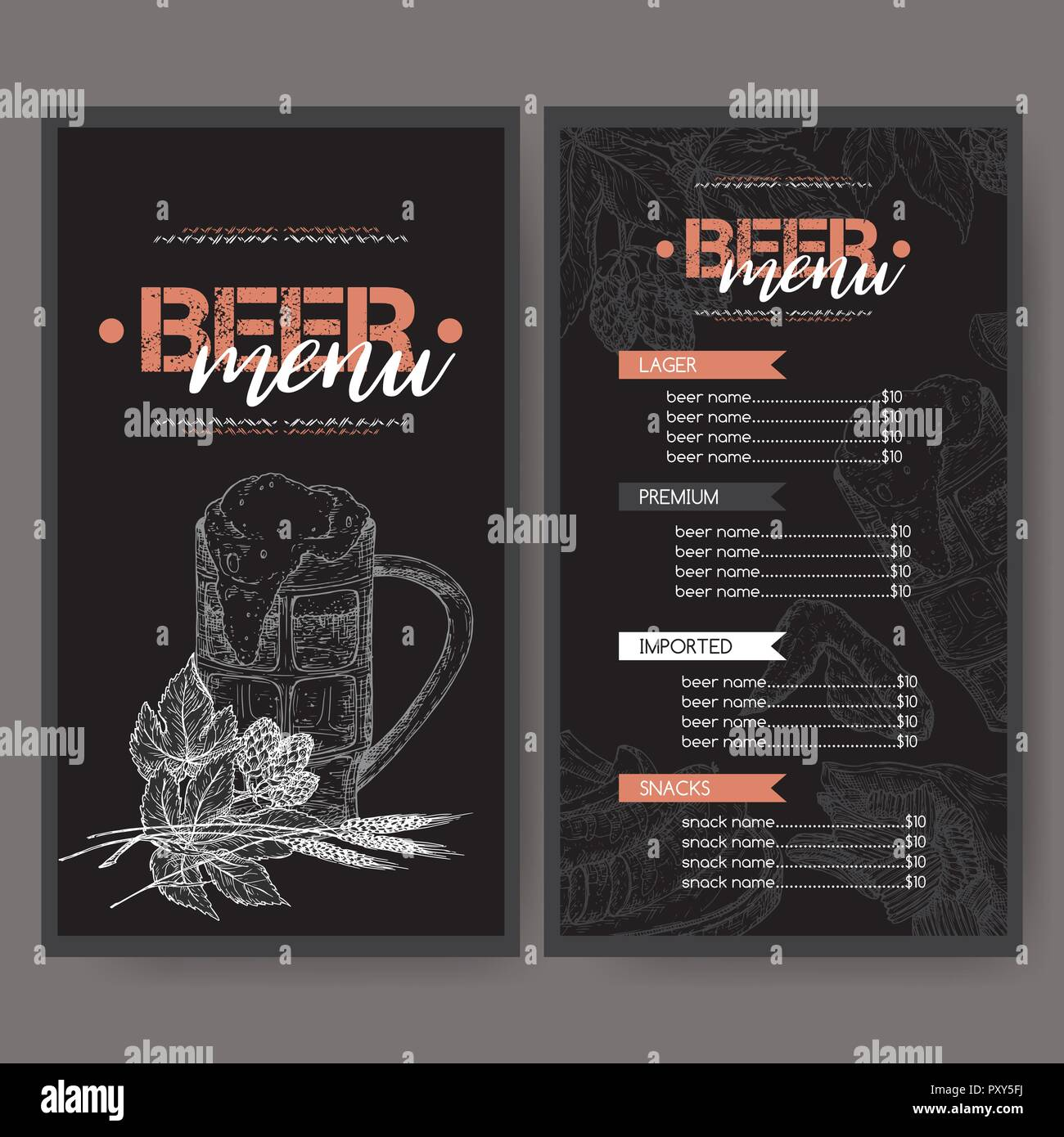 Black Beer Menu Template With Keg And Mug Hop Branch Wheat Chips Nuts Chicken Wings Snack Plate Great For Bar Restaurant Cards Me