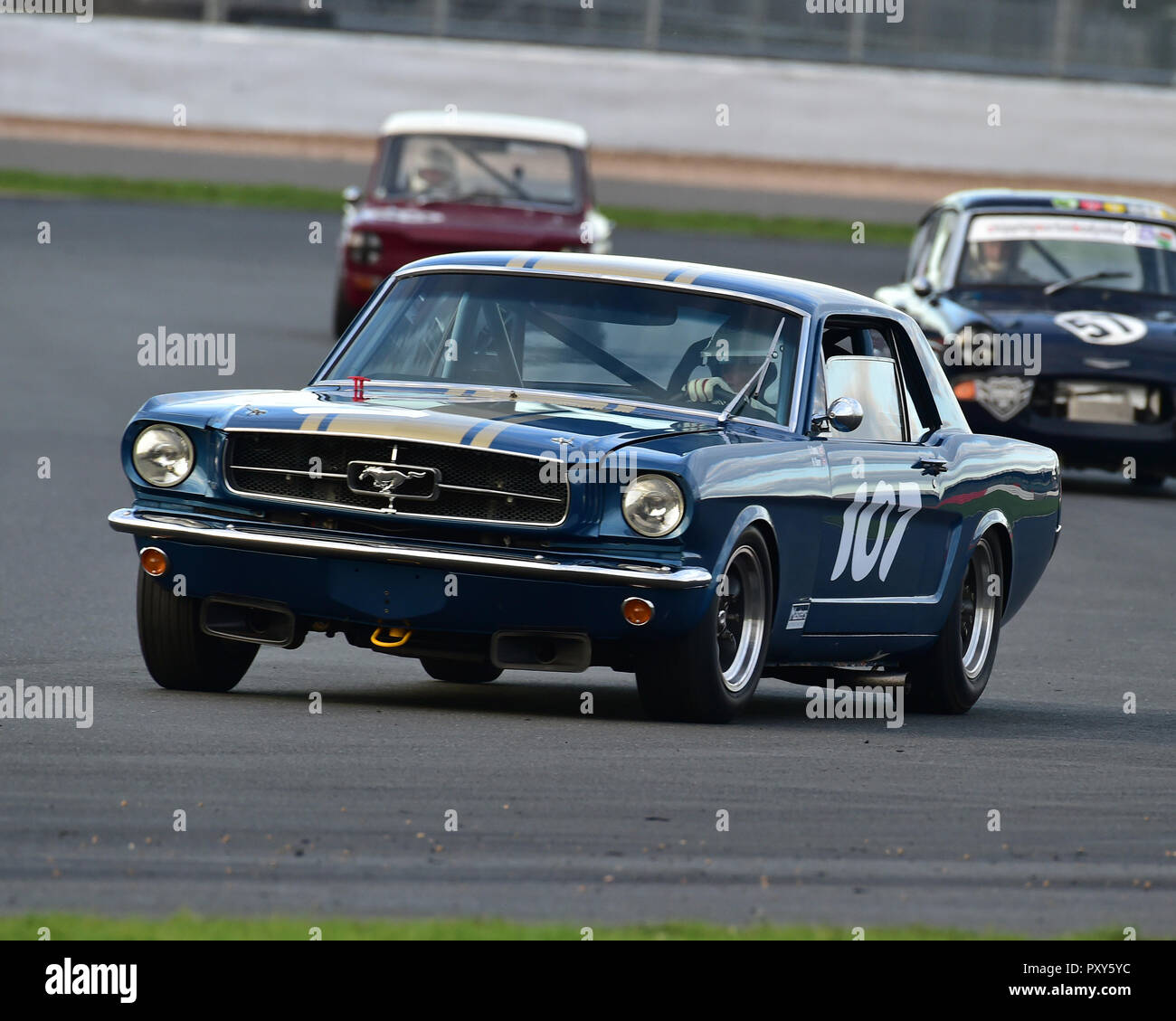Neil Glover, Ford Mustang, HSCC, HRSR, Historic Touring Cars, Silverstone Finals Historic Race Meeting, Silverstone, October 2018, cars, Classic Racin - Stock Image