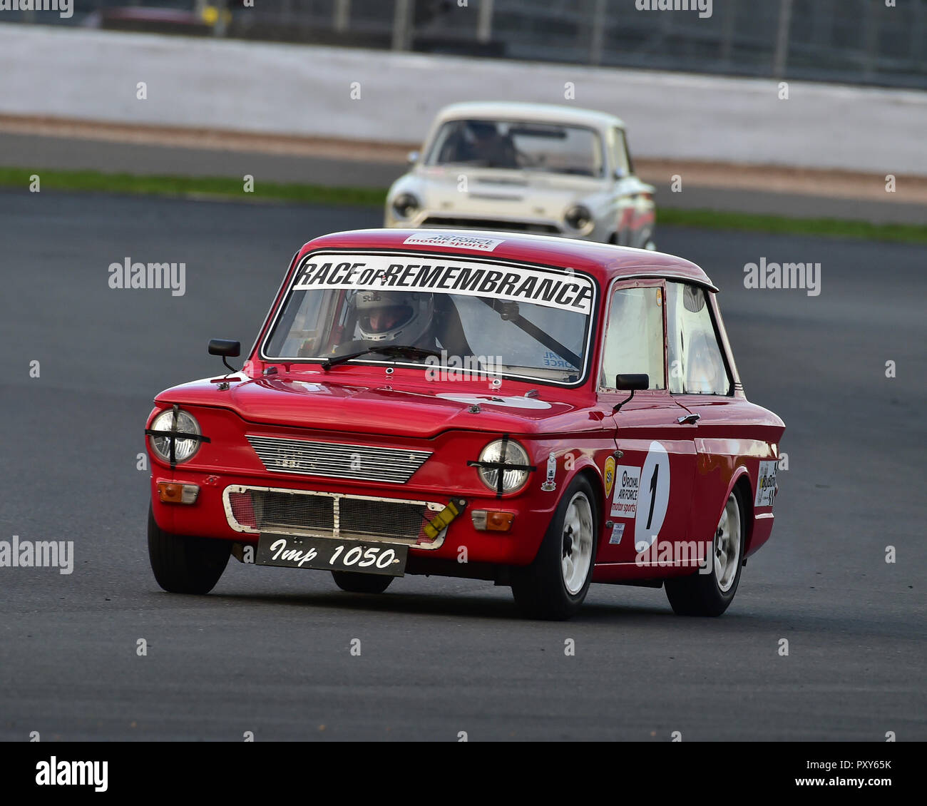 Steve Platts, Singer Chamois, HSCC, HRSR, Historic Touring Cars, Silverstone Finals Historic Race Meeting, Silverstone, October 2018, cars, Classic Ra - Stock Image