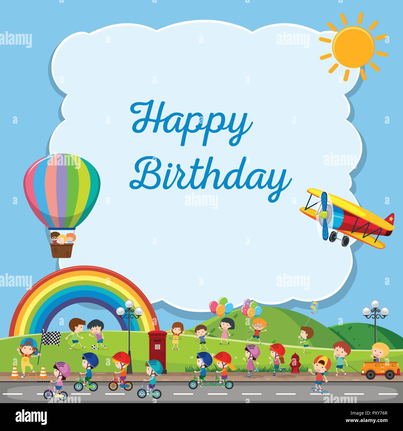 Strange Birthday Card Template With Kids In The Park Background Personalised Birthday Cards Bromeletsinfo