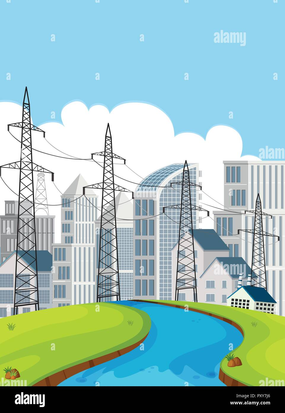 City scene with electricity poles and buildings illustration - Stock Vector
