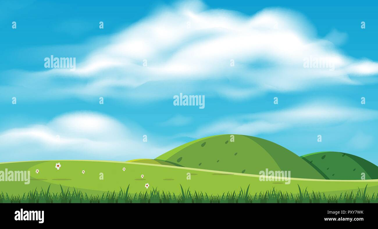 A Beautiful Scenery with Hills illustration - Stock Vector