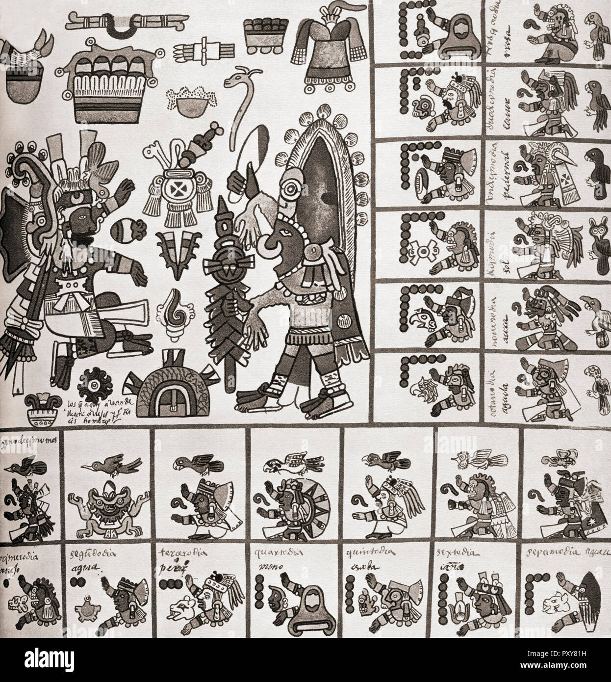 Detail from a fascimile copy of the Codex Borbonicus. The Codex Borbonicus is an Aztec codex written by Aztec priests shortly before or after the Spanish conquest of Mexico in the 16th century. - Stock Image