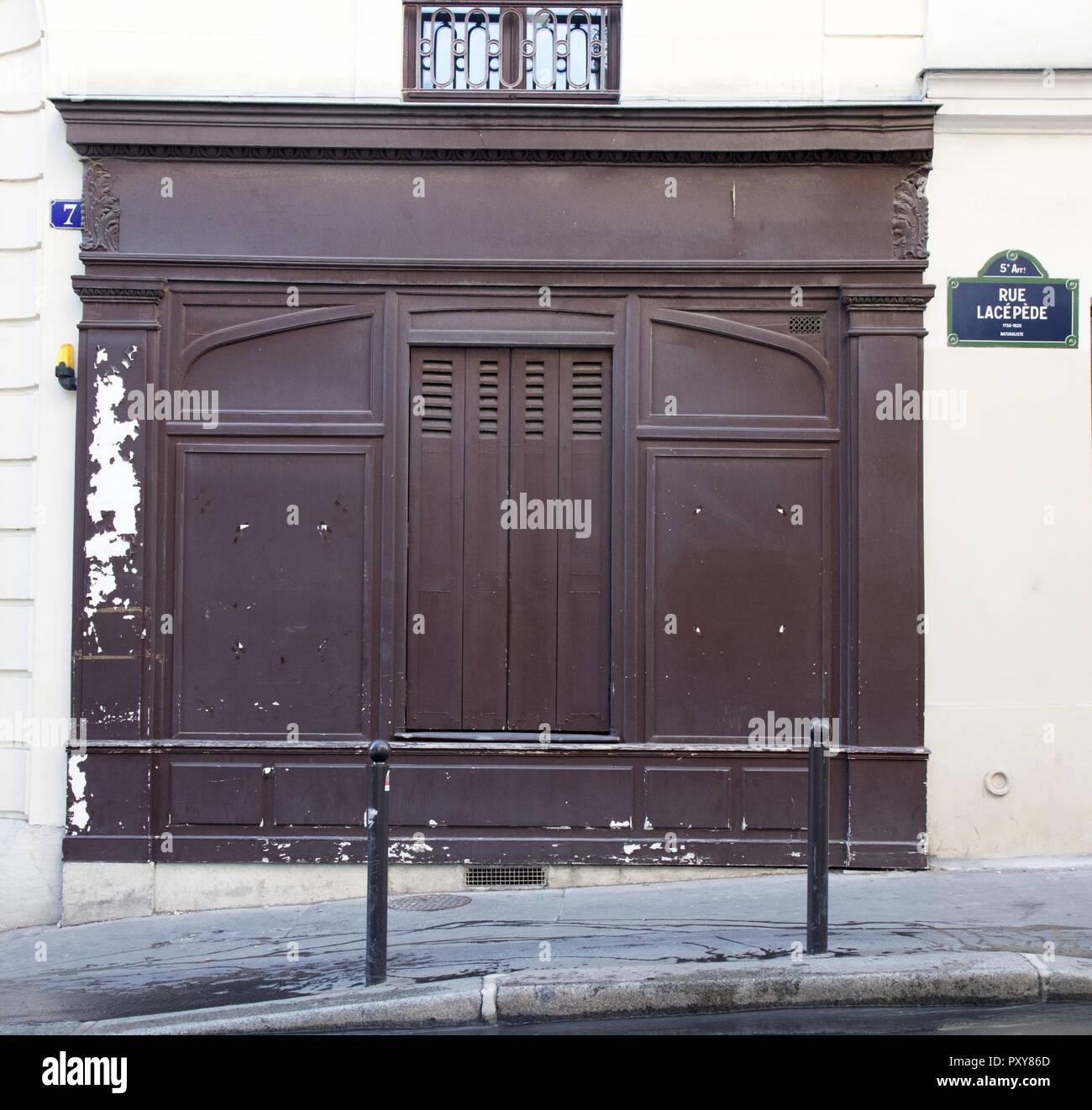 Detail of No 7 rue Lacépède, 5th Arrondissement, Paris, France - Stock Image