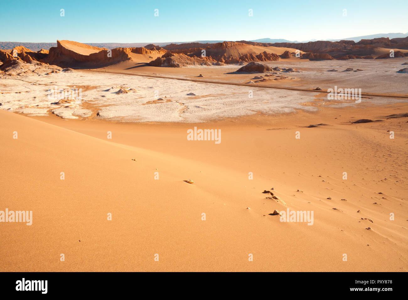 Road through The Moon Valley, Atacama Desert, Chile Stock Photo