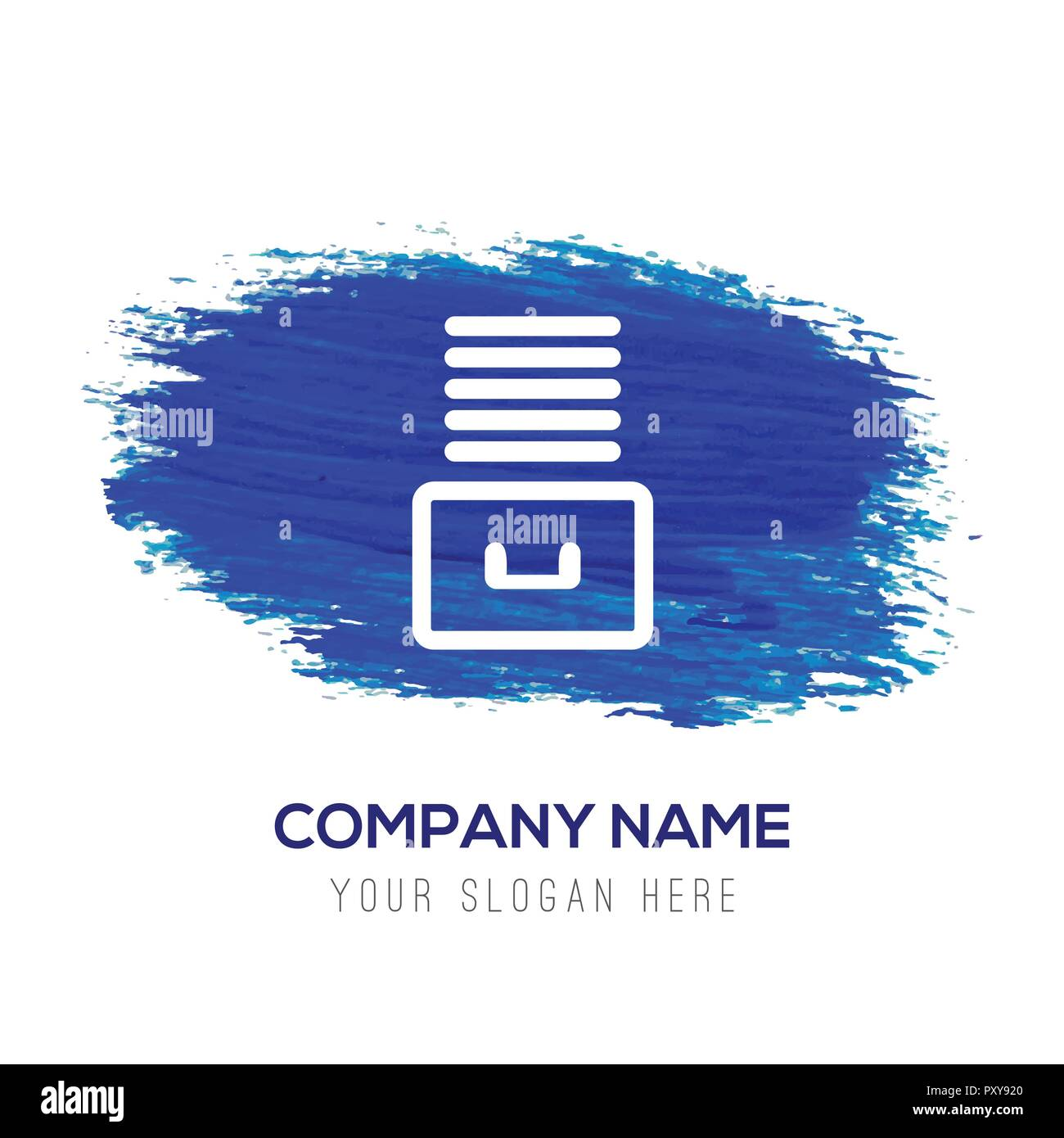 File Stack Icon - Blue watercolor background - Stock Image