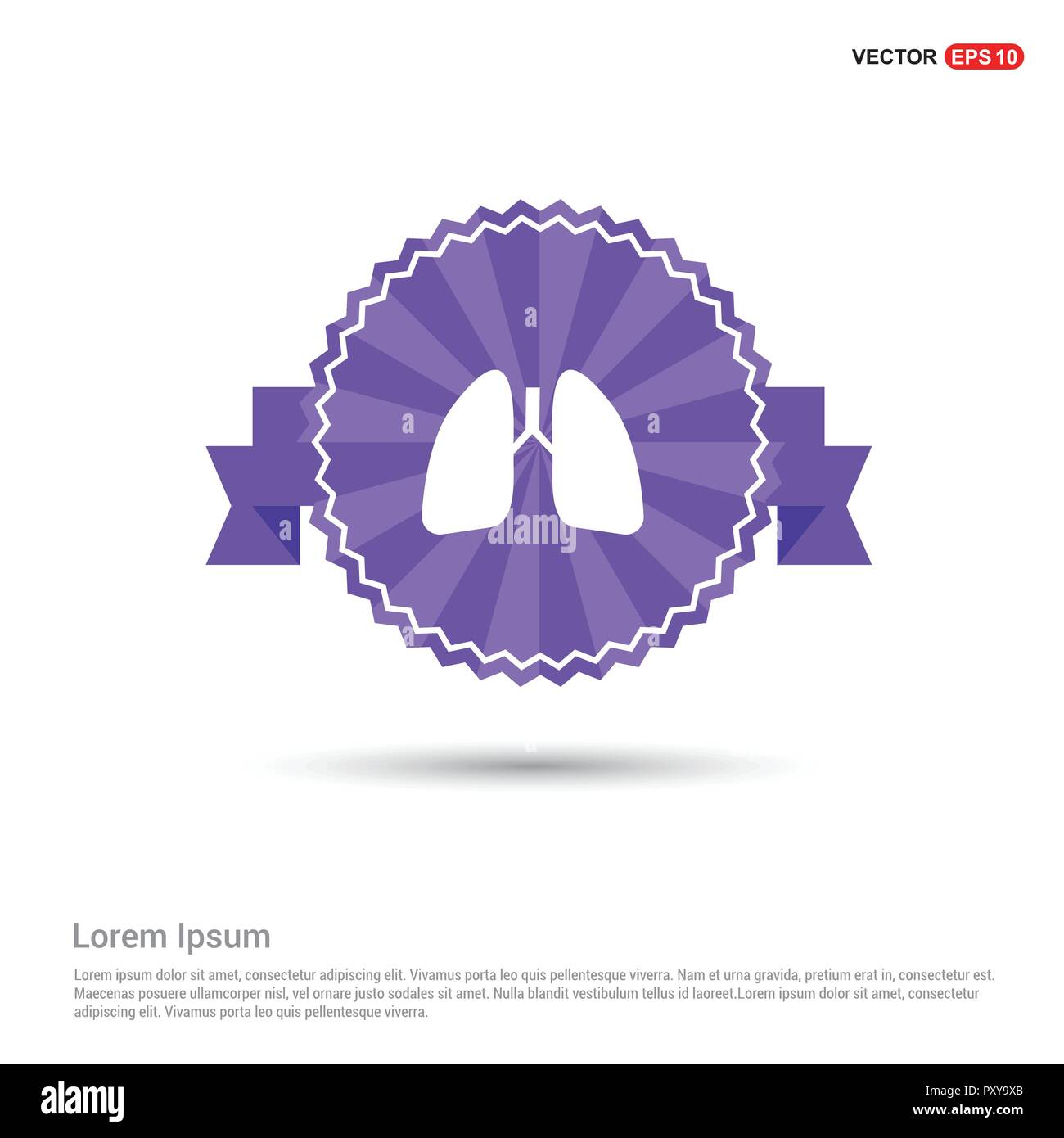 lungs, icon, - Purple Ribbon banner - Stock Vector