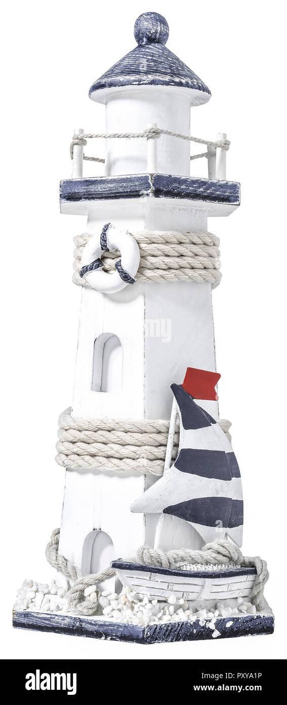 Kleiner Leuchtturm als Dekorations-Objekt - Stock Image
