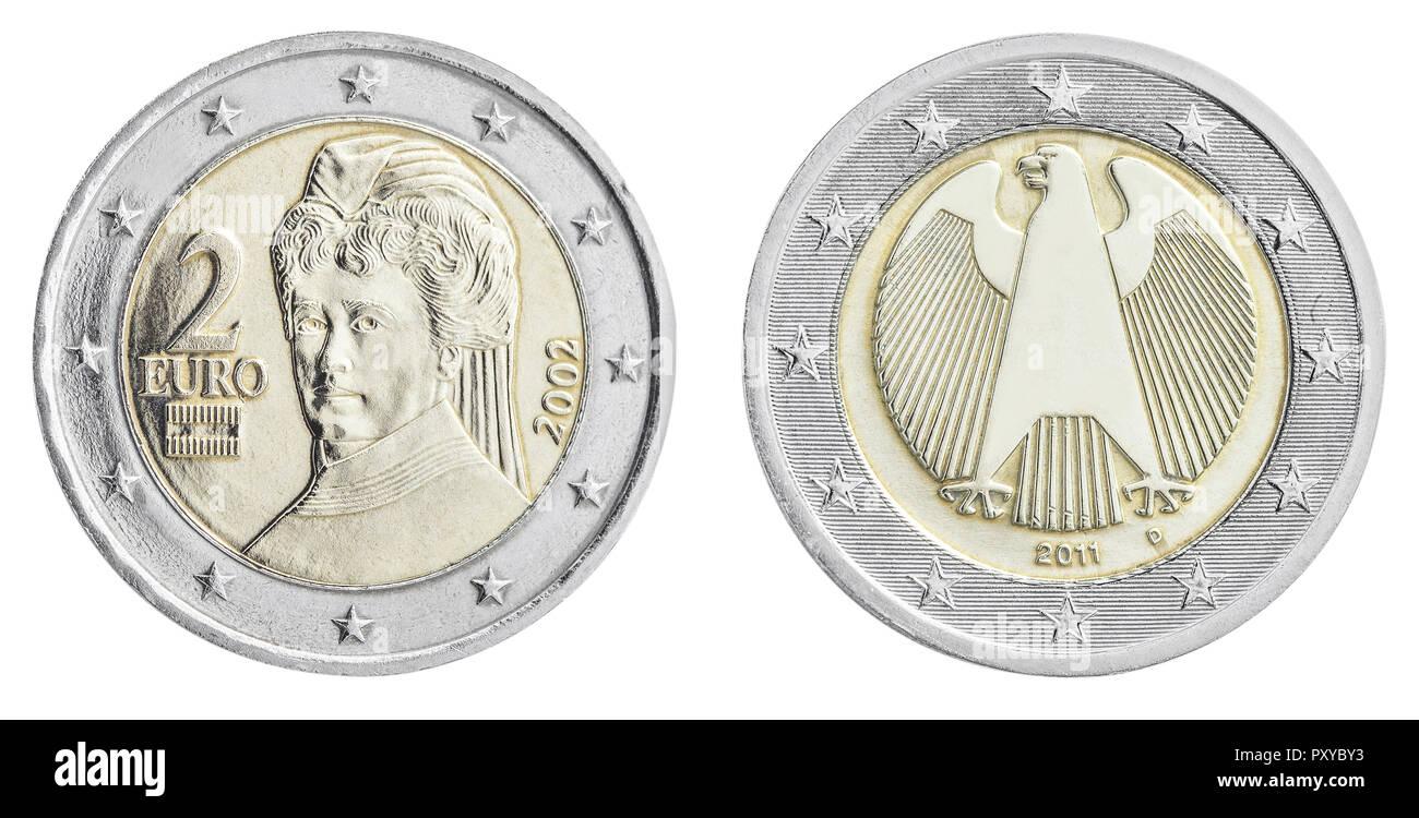 2-Euro Muenzen, Deutschland und Oesterreich, Rueckseiten - Stock Image