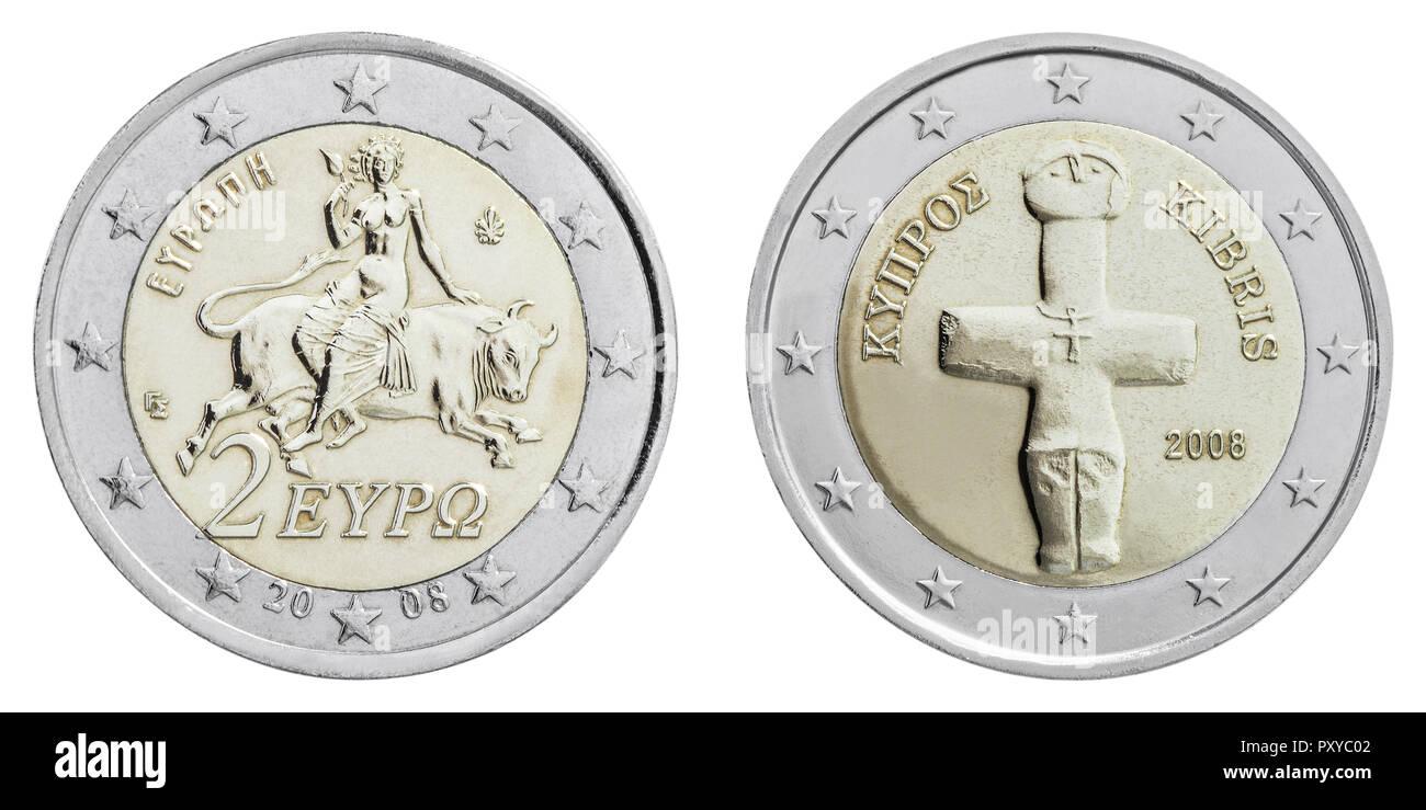 2 Euro Muenzen Griechenland Und Zypern Rueckseiten Stock Photo