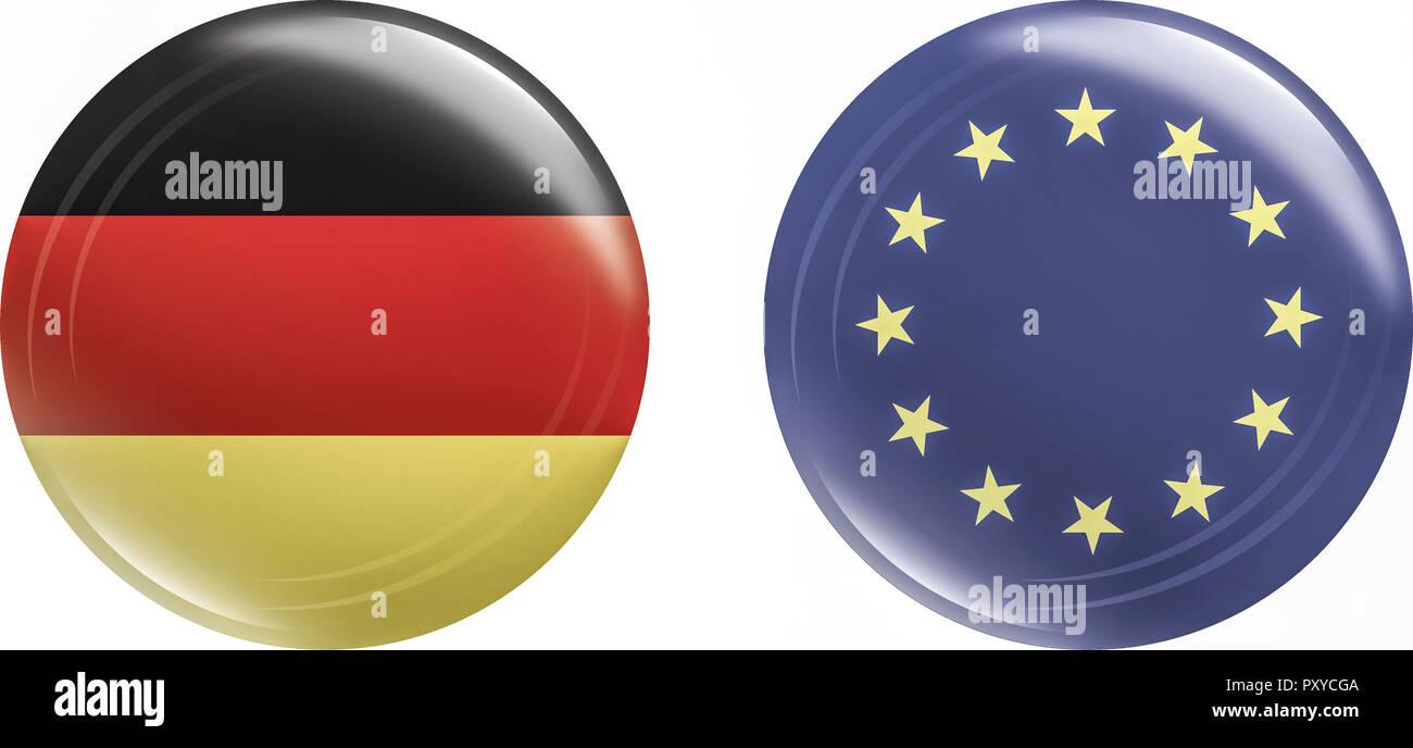 Buttons, Deutschland & Europa - Stock Image