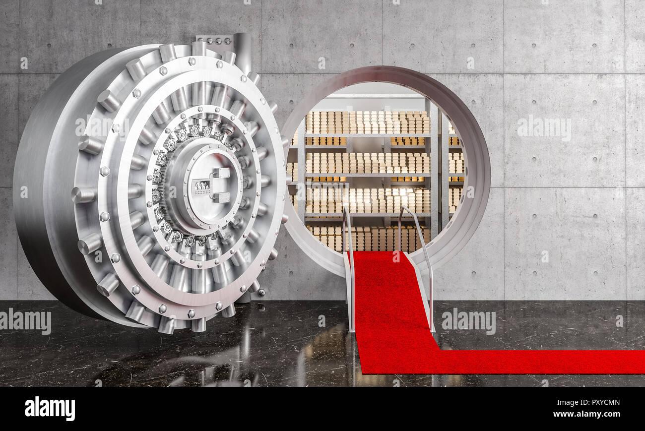 3d image of huge bank vault and gold ingot - Stock Image