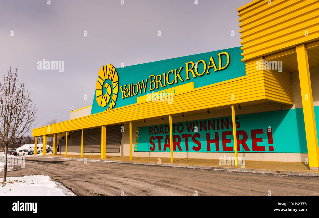 Exterior facade of Yellow Brick Road Casino designed to celebrate 'The Wonderful Wizard of Oz' film in Chittenango, New York. - Stock Image