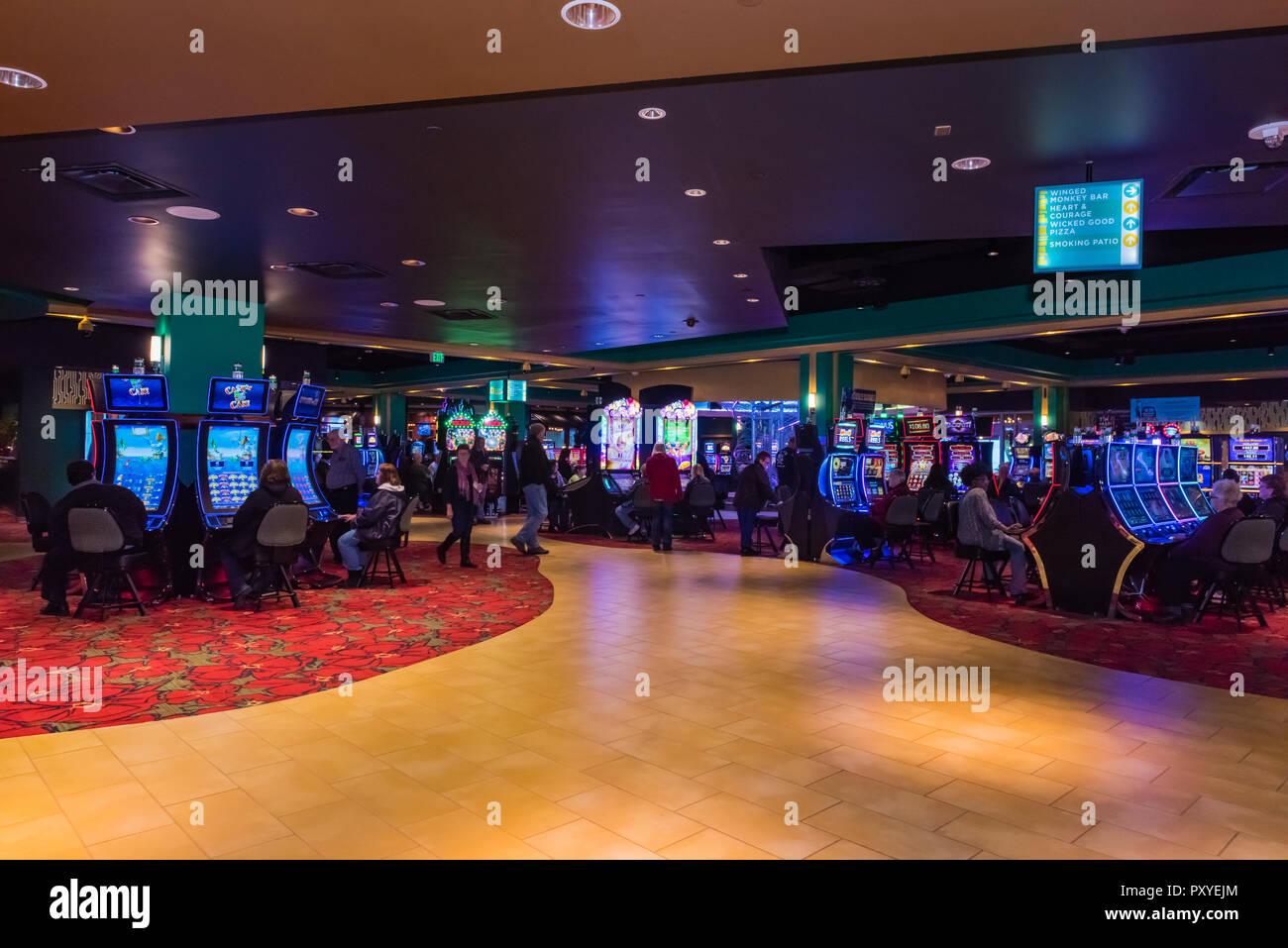 Interior shot of game tables and walkway at Yellow Brick Road Casino designed to celebrate 'The Wonderful Wizard of Oz' film in Chittenango, New York. - Stock Image