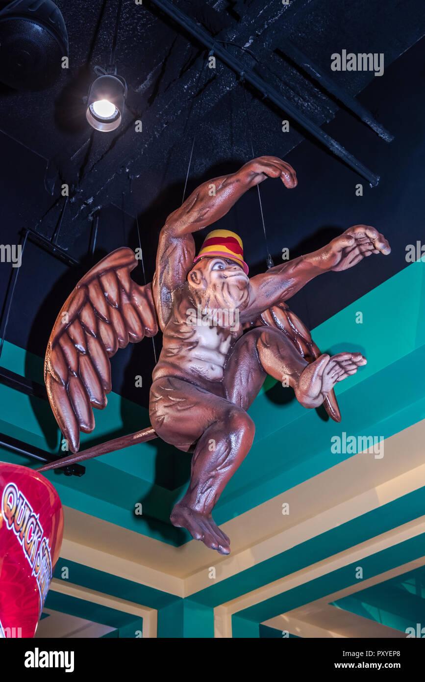 Flying monkey stature at Yellow Brick Road Casino designed to celebrate 'The Wonderful Wizard of Oz' film in Chittenango, New York. - Stock Image