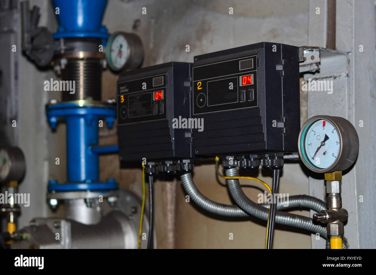 Electric power meter measuring power usage. Watt hour electric meter measurement tool. - Stock Image