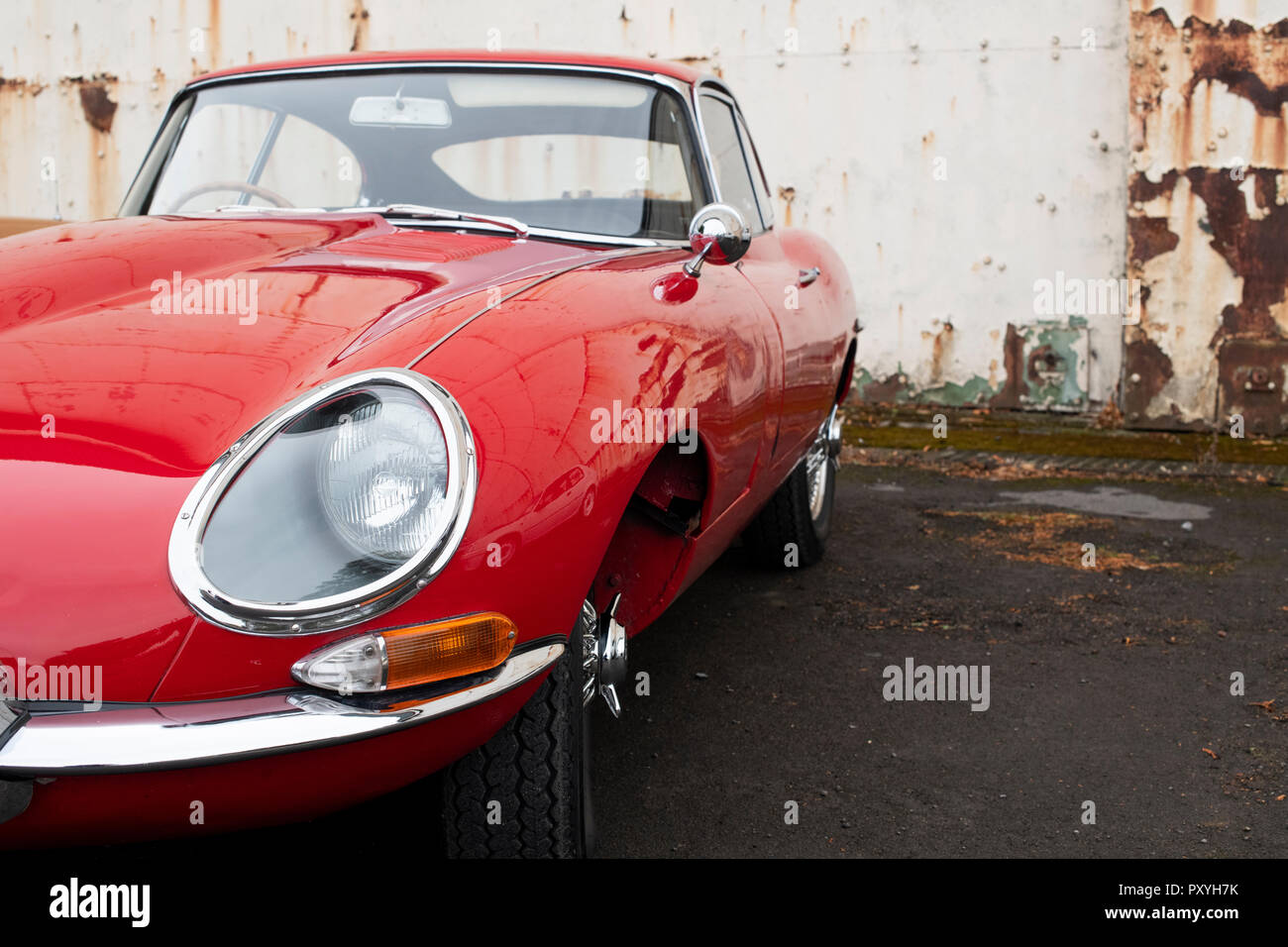 1964 Jaguar E Type at Bicester heritage centre autumn sunday scramble event. Bicester, Oxfordshire, UK Stock Photo