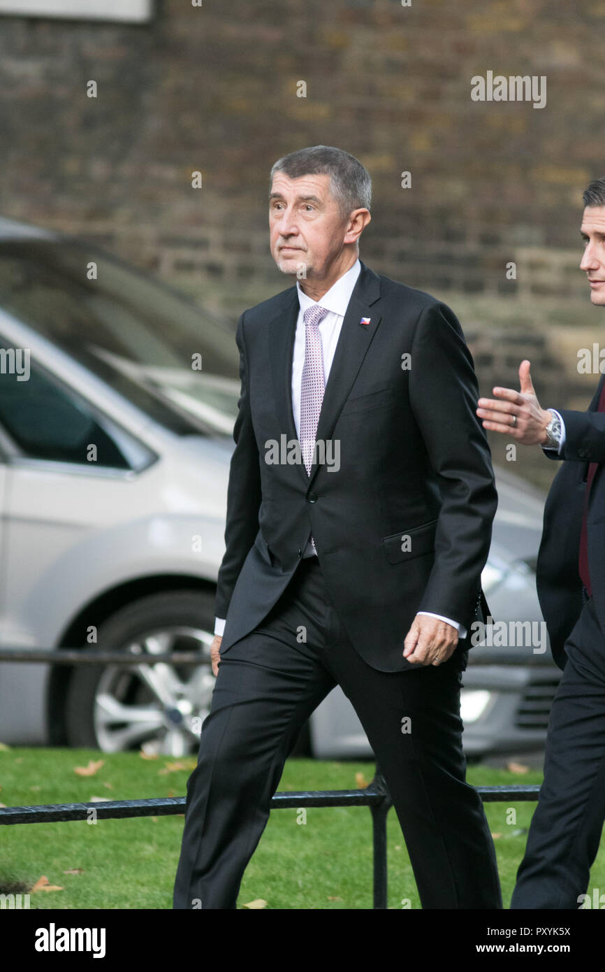 The Prime Minister of the Czech Republic, Andrej Babiš arrives at Downing Street for a meeting with Theresa May who are expected to discuss Brexit during their bilateral meeting at Number 10Credit: amer ghazzal/Alamy Live News - Stock Image