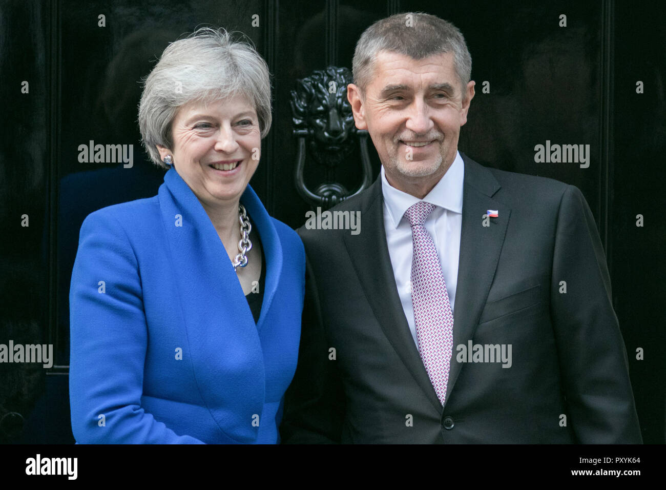The Prime Minister of the Czech Republic, Andrej Babiš is welcomed at Downing Street By Theresa May who are expected to discuss Brexit during their bilateral meeting at Number 10Credit: amer ghazzal/Alamy Live News - Stock Image