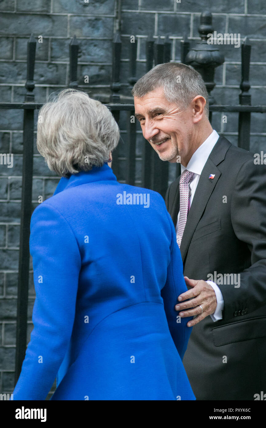 London, UK. 24th Oct, 2018. The Prime Minister of the Czech Republic, Andrej Babiš is welcomed at Downing Street by British PM Theresa May who are expected to discuss Brexit during their bilateral meeting at Number 10 Credit: amer ghazzal/Alamy Live News - Stock Image