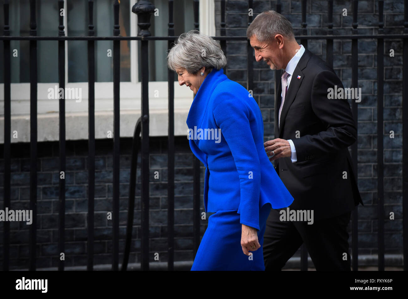London, UK.  24 October 2018.  Theresa May, Prime Minister, greets Andrej Babis, Czech Prime Minister at Number 10 Downing Street. Credit: Stephen Chung / Alamy Live News - Stock Image