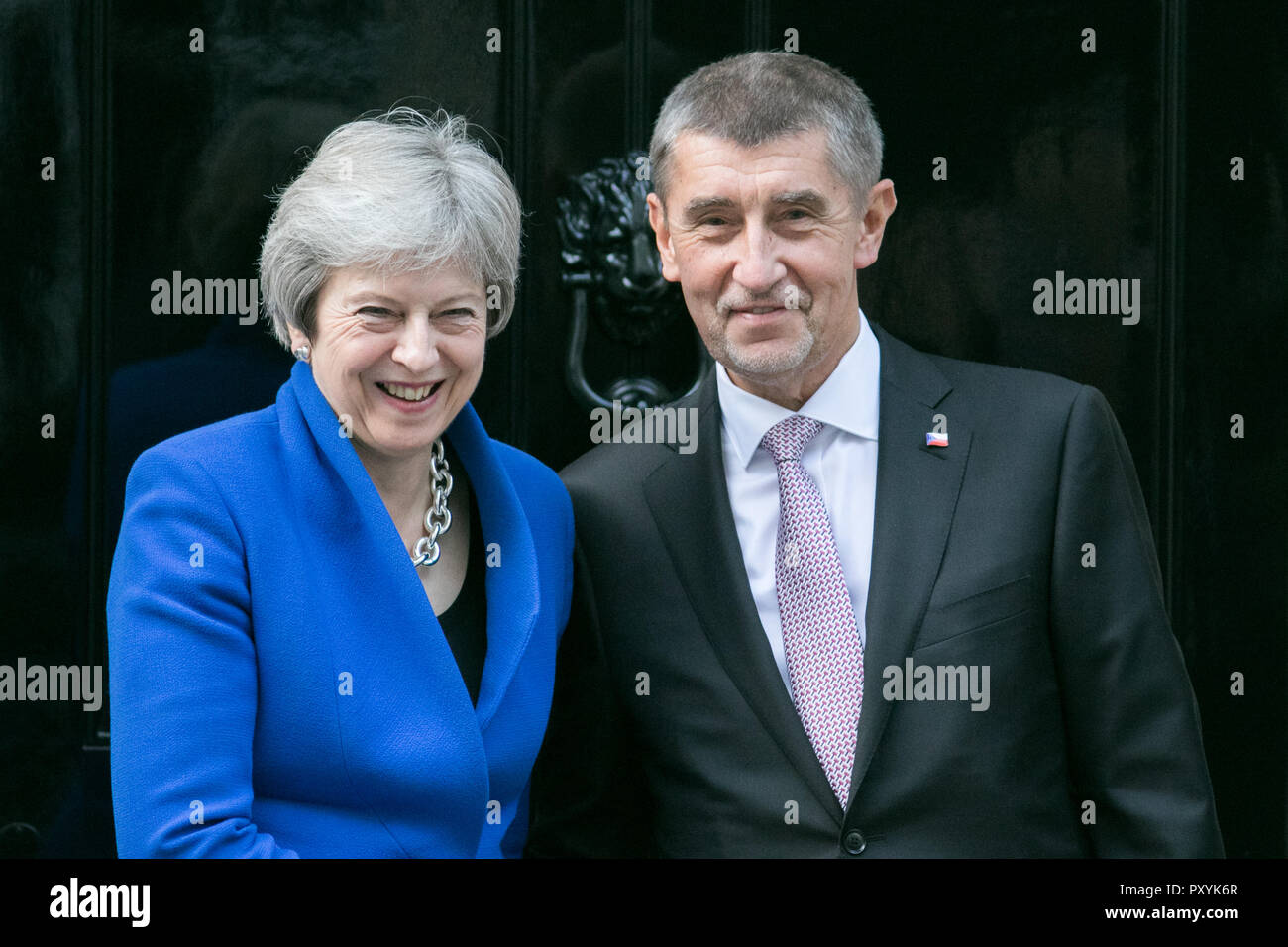 The Prime Minister of the Czech Republic, Andrej Babiš is welcomed at Downing Street By Theresa May who are expected to discuss Brexit during their bilateral meeting at Number 10 Credit: amer ghazzal/Alamy Live News - Stock Image