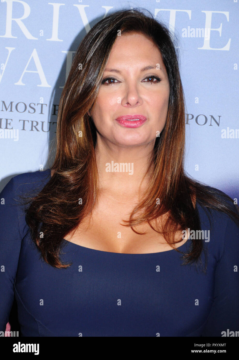 Beverly Hills, California, USA. 24th October, 2018. Actress Alex Meneses attends the Los Angeles Premiere of Aviron Pictures' 'A Private War' at Samuel Goldwyn Theater in Beverly Hills, California. Photo by Barry King/Alamy Live News - Stock Image