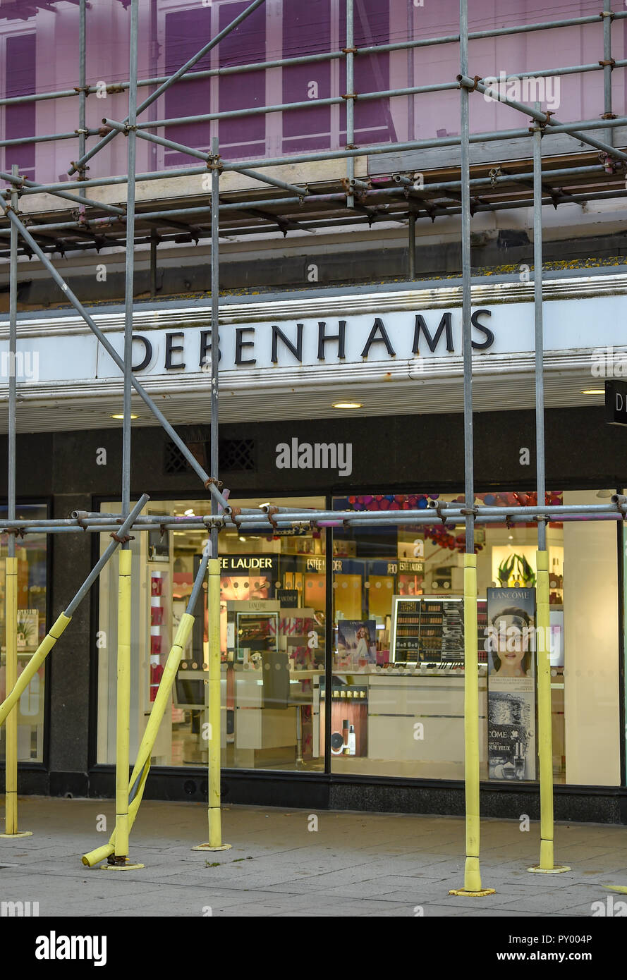 b4d82abb31e Worthing UK 25th October 2018 - The Debenhams department store in Worthing  this morning . The