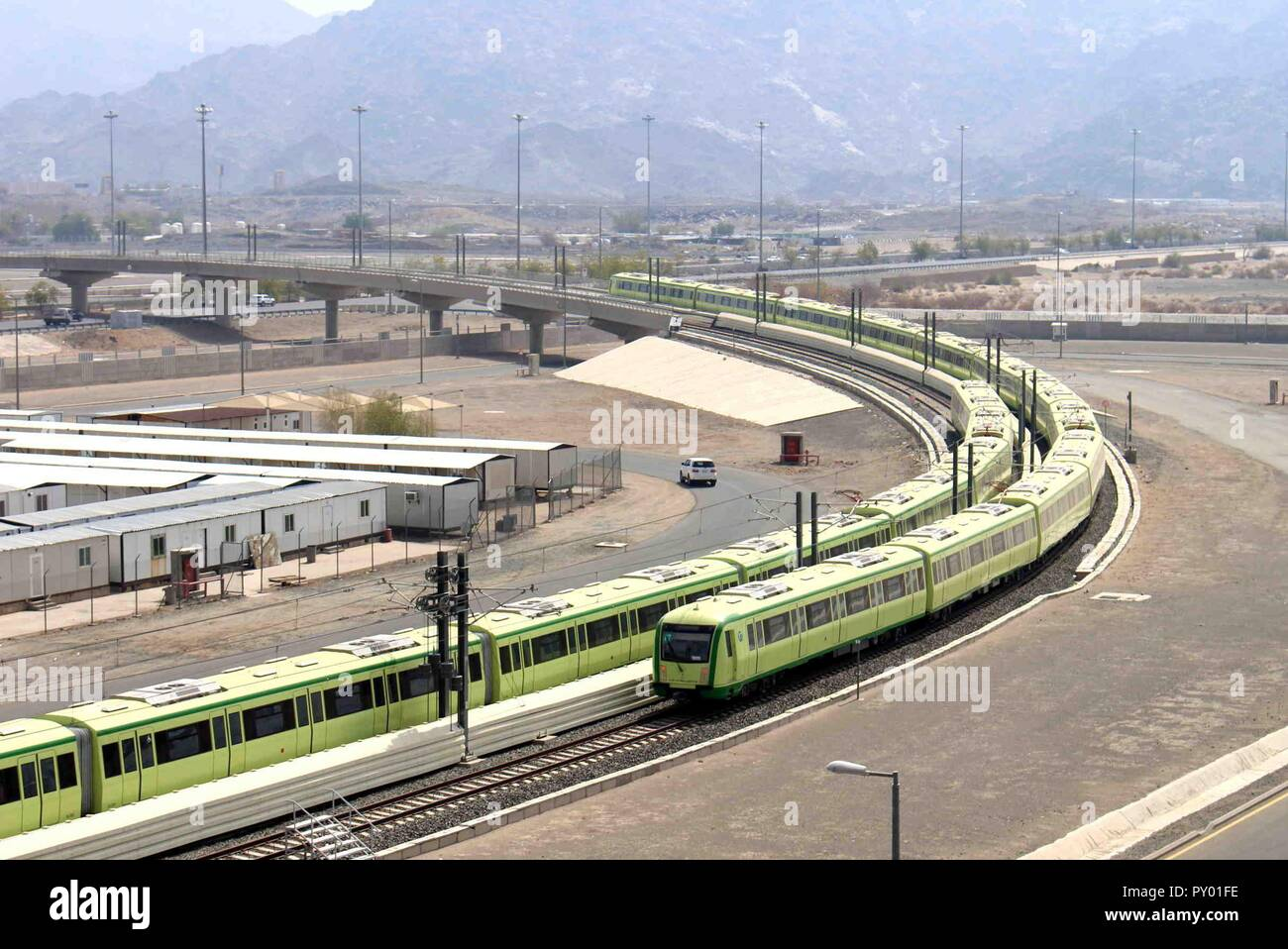 (181025) -- BEIJING, Oct. 25, 2018 (Xinhua) -- The Mecca Light Rail is tested in Mecca, Saudi Arabia, on June 20, 2018. (Xinhua/Dong Liwei) (yy) - Stock Image