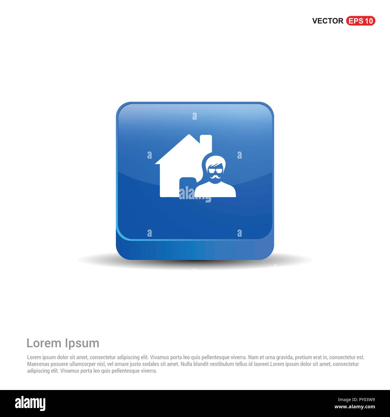 Real Estate Agent Icon - 3d Blue Button. - Stock Image