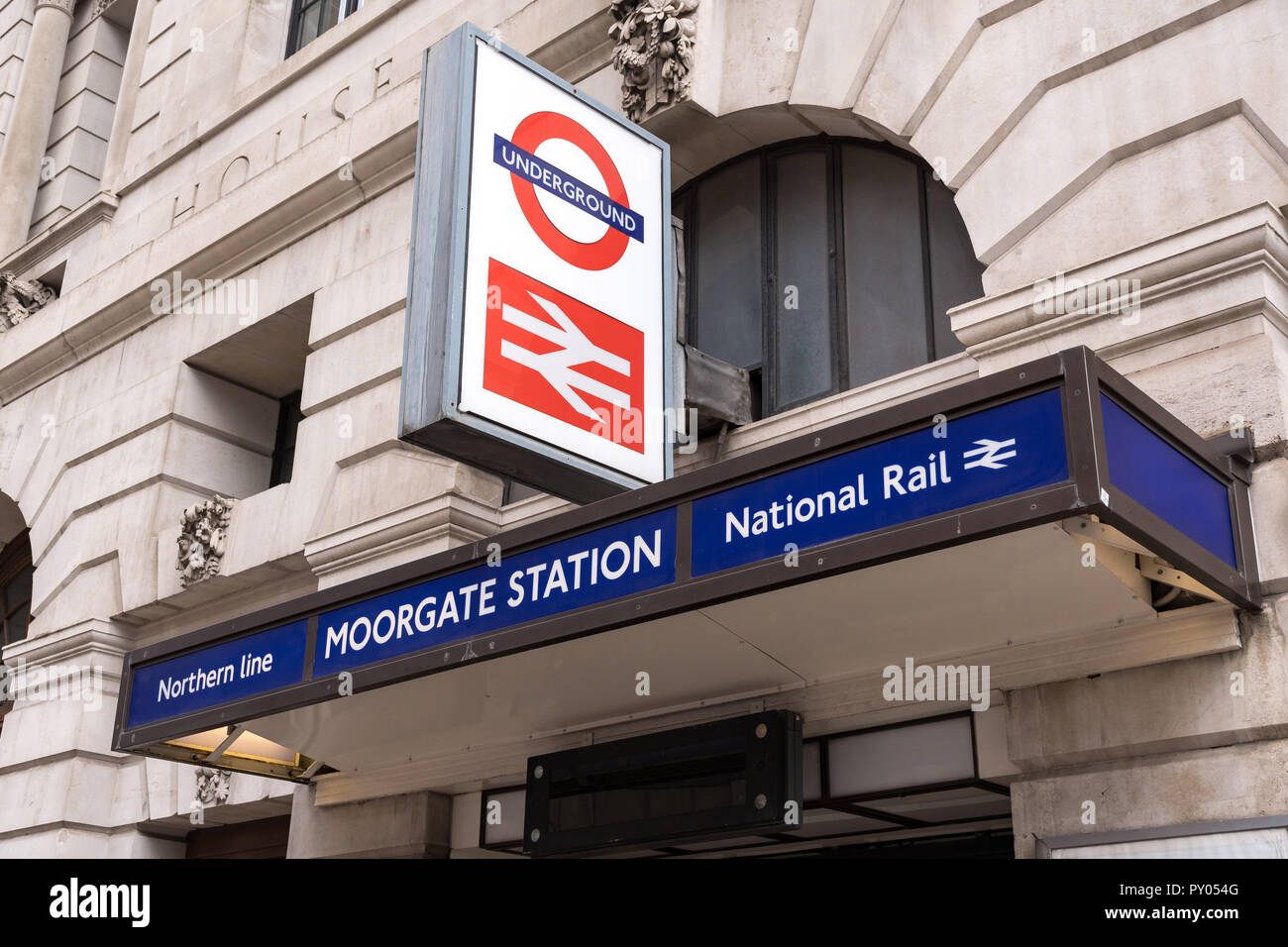 Moorgate London Underground station entrance with sign above - Stock Image