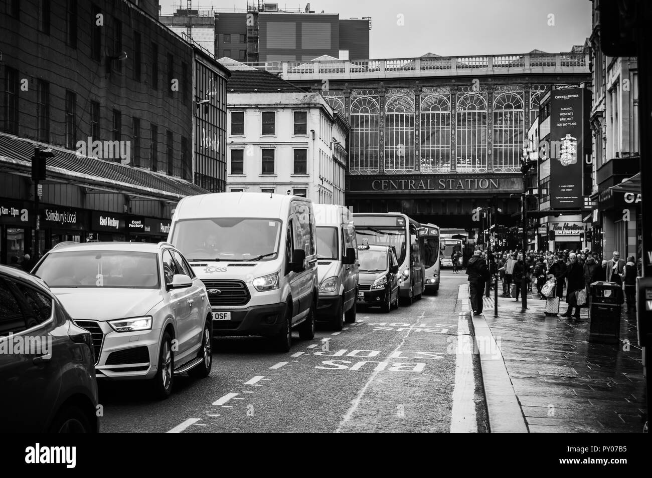 A busy Argyll Street in Glasgow. - Stock Image