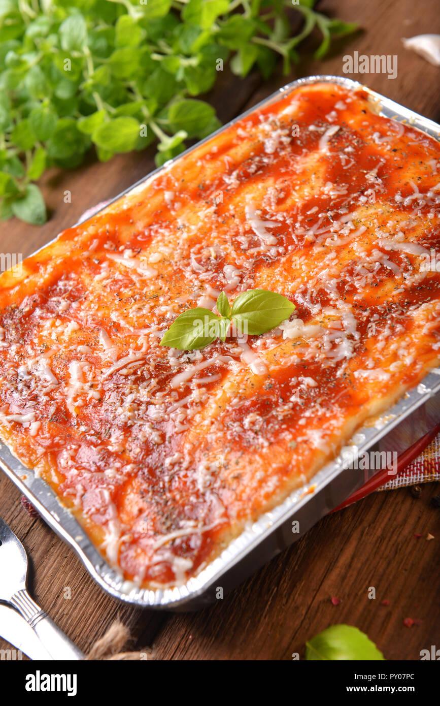 Homemade lasagne bolognese - Stock Image