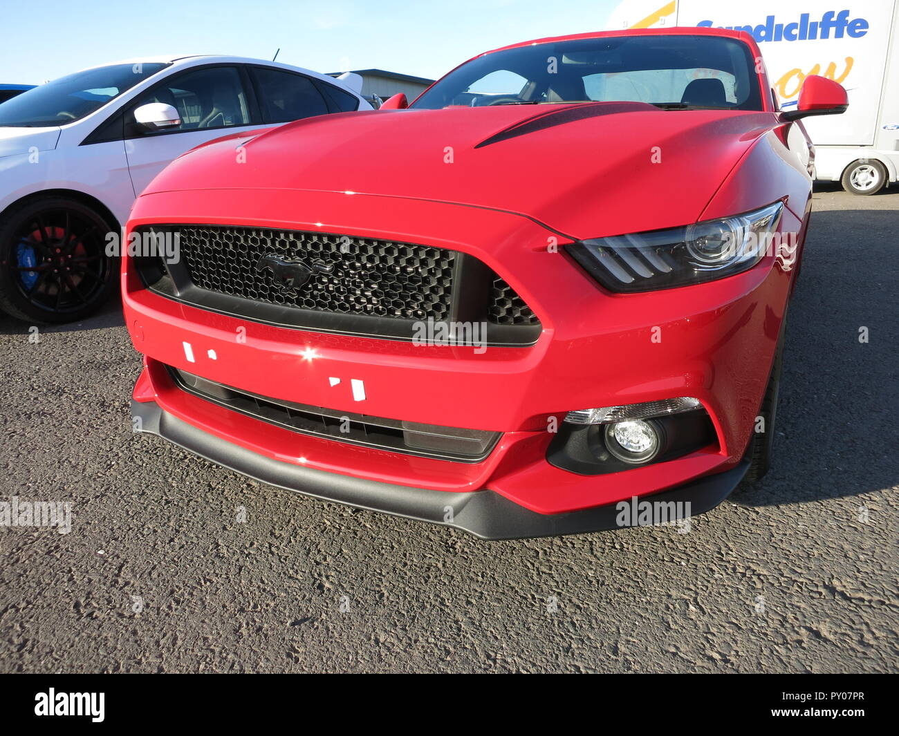 Ford Mustang 5.0 litre liter 2015 Model year shown at donnington park race circuit at the RS owners club national day - showing front view - Stock Image