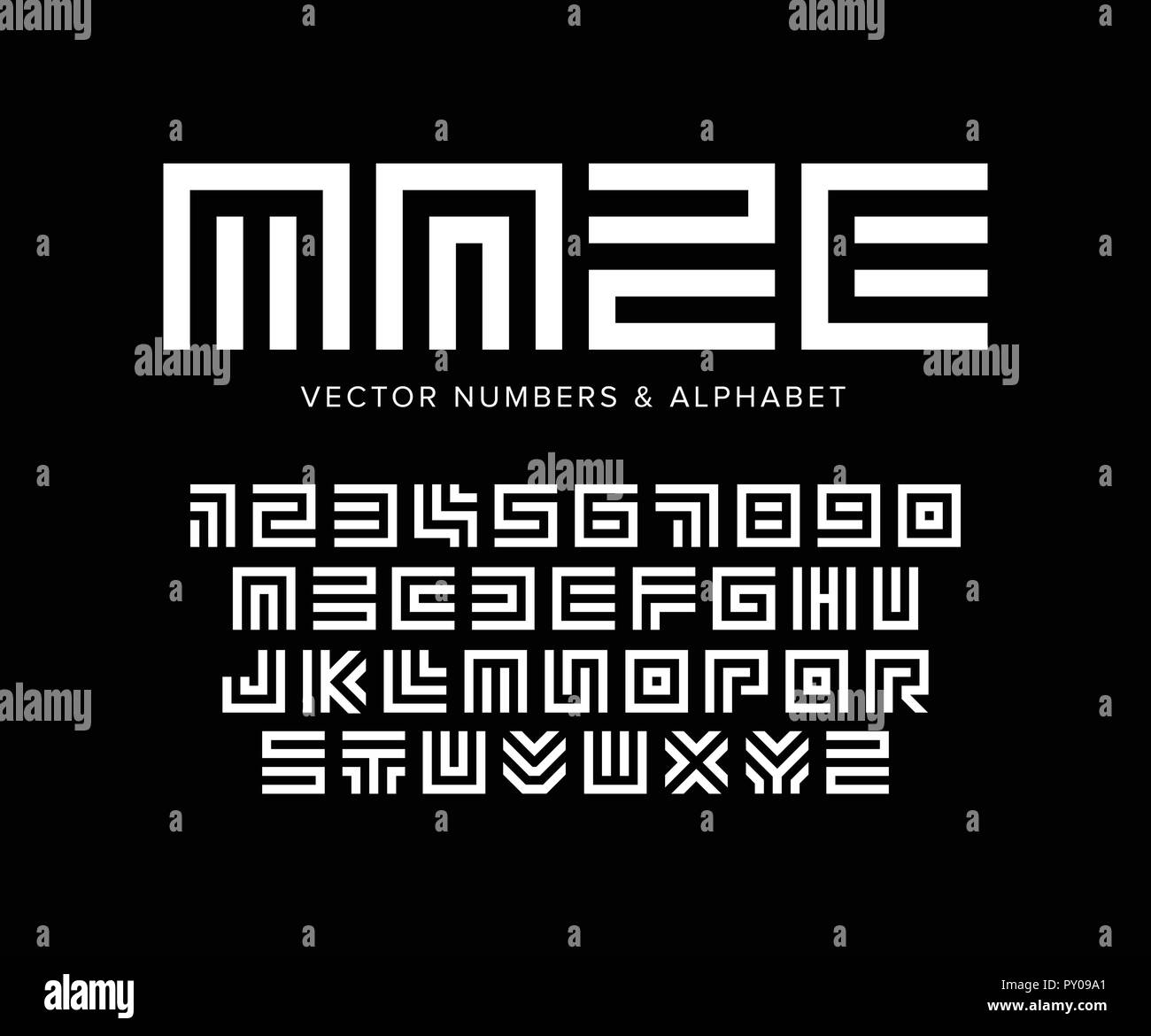 Geometric vector letters and numbers set. Maze alphabet. White logo template on black background. Typography design. - Stock Image