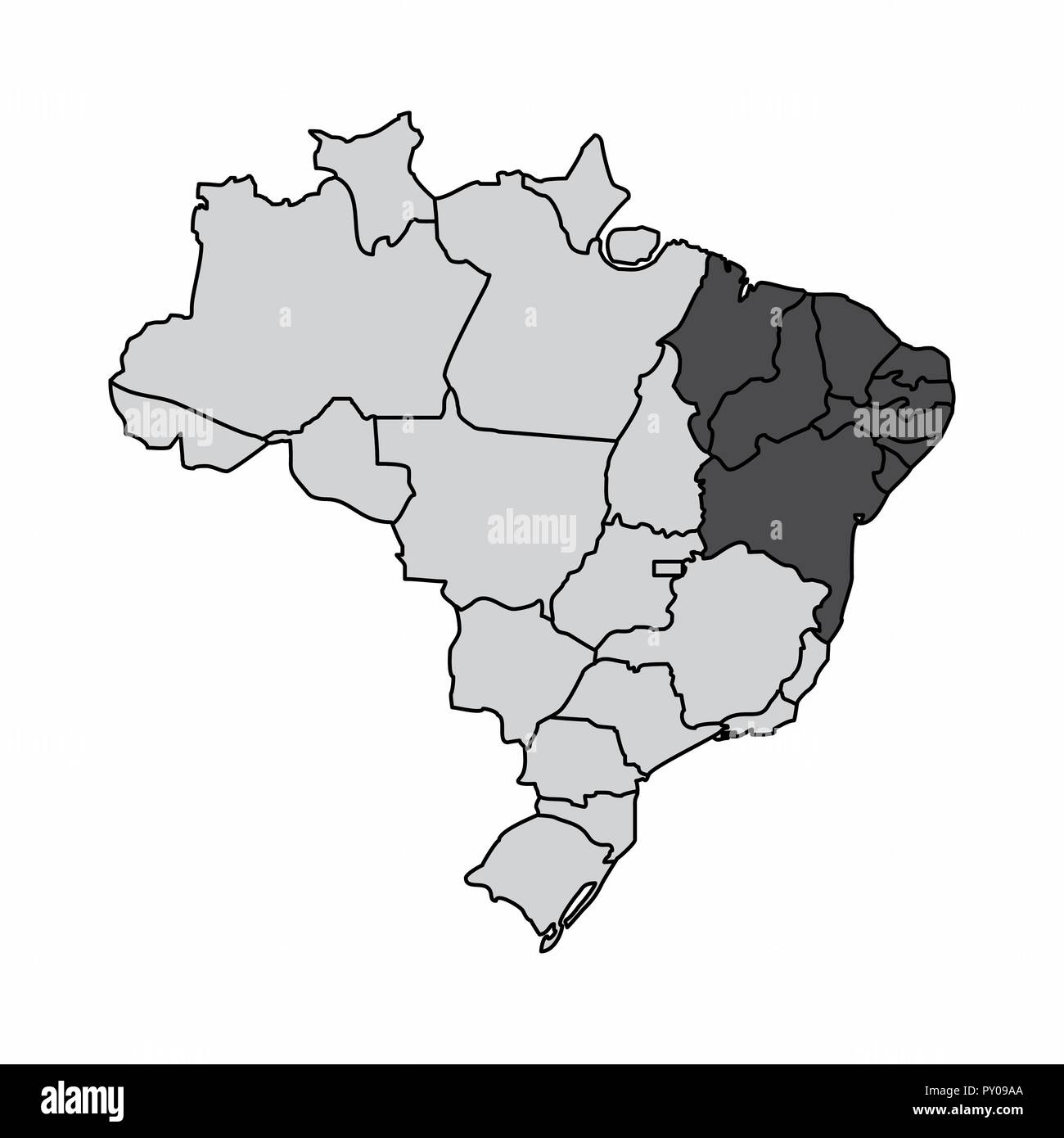Illustration of a map of Brazil with the northeast region ...
