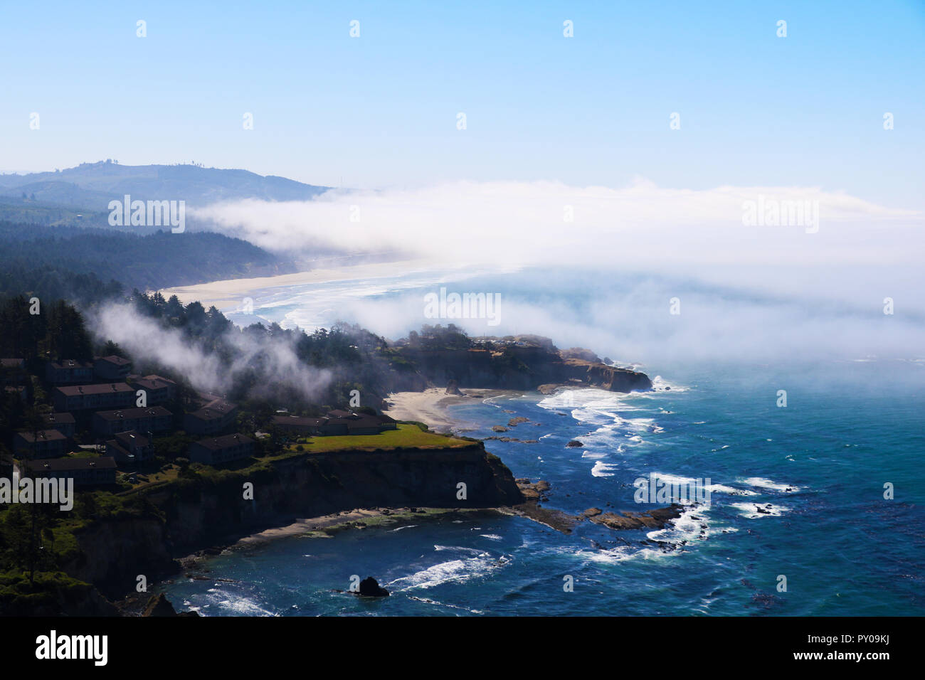 Beach on the ocean, view from above. Pacific Ocean, California Stock Photo